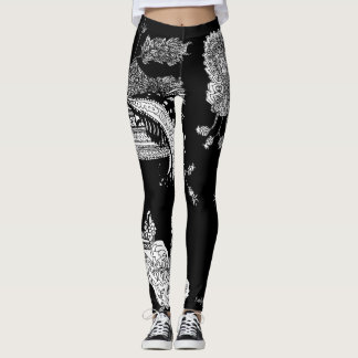 B&W Paisley Unisex High Waisted Leggings