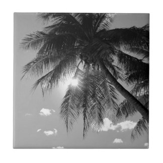 B&W Palm Ceramic Tile