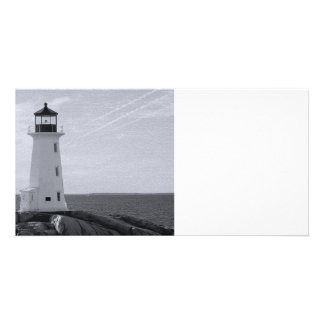 B&W Peggy's Cove Lighthouse Photo Cards