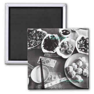 B&W photo of Chinese food on a 2'' Square Magnet