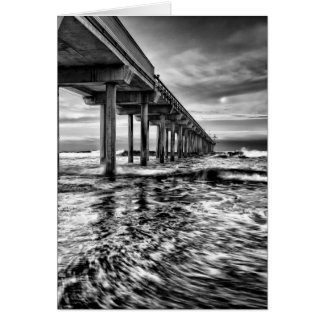 B&W pier at dawn, California Card