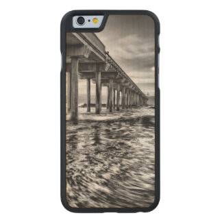 B&W pier at dawn, California Carved Maple iPhone 6 Case