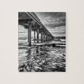 B&W pier at dawn, California Jigsaw Puzzle