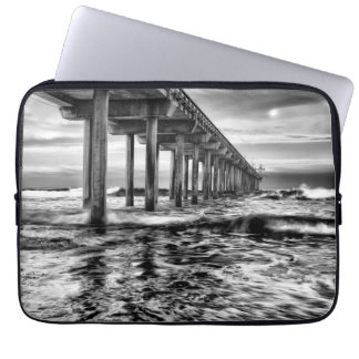 B&W pier at dawn, California Laptop Computer Sleeves