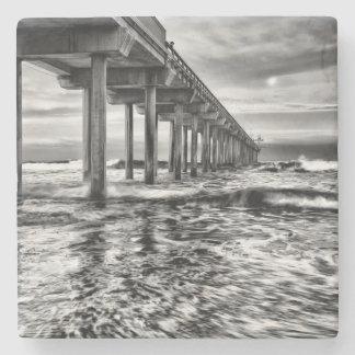 B&W pier at dawn, California Stone Coaster