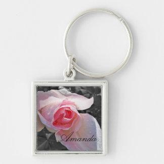 B W Pink Rose Key Chain