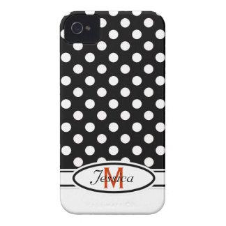 B & W Polka-dot Monogram Blackberry Bold  Case iPhone 4 Case
