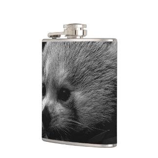 B&W red panda Hip Flask