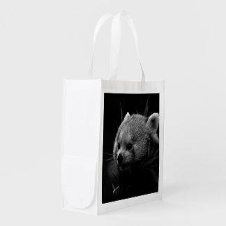 B&W red panda Reusable Grocery Bag
