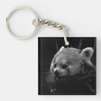 B&W red panda Single-Sided Square Acrylic Key Ring