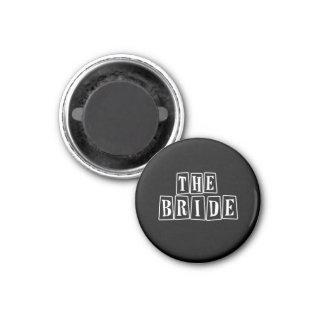 B&W Retro Stamp - The Bride 3 Cm Round Magnet