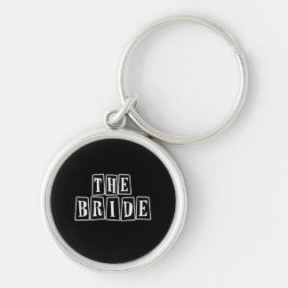 B&W Retro Stamp - The Bride Silver-Colored Round Key Ring