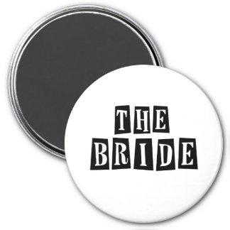 B&W Retro Stamp - The Bride 7.5 Cm Round Magnet
