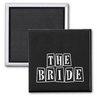 B&W Retro Stamp - The Bride Square Magnet