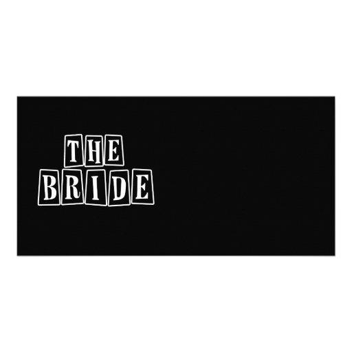 B&W Retro Stamp - The Bride Photo Card