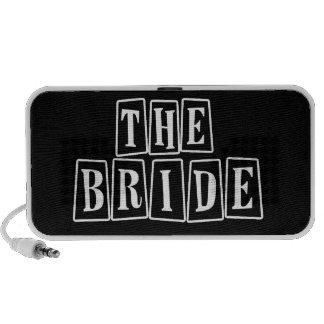 B&W Retro Stamp - The Bride Portable Speaker