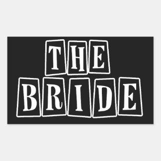 B&W Retro Stamp - The Bride Rectangular Sticker