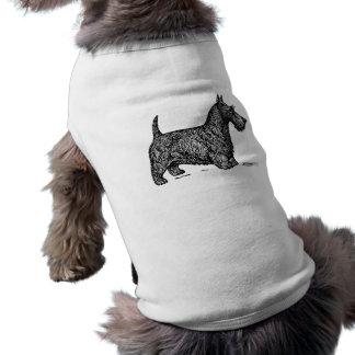 B/W Scottie Illustration Dog Sweater Shirt