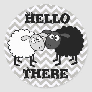 B&W Sheep Glossy, Small, 1½ inch (sheet of 20) Classic Round Sticker