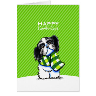B/w Shih Tzu Scarf Christmas Green Custom Card