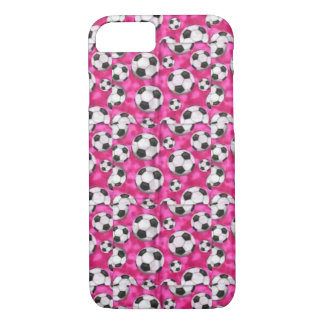 B&W Soccer Balls on Pink Iphone Case