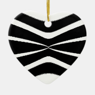 B & W Stripes-  Pinched.gif Ceramic Heart Decoration