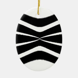 B & W Stripes-  Pinched.gif Ceramic Oval Decoration