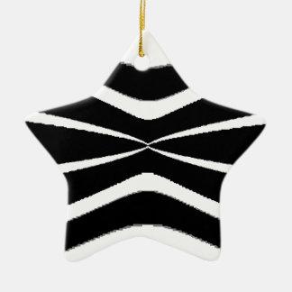 B & W Stripes-  Pinched.gif Ceramic Star Decoration