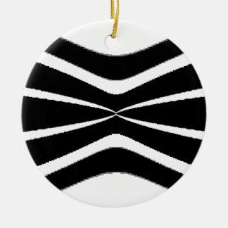 B & W Stripes-  Pinched.gif Round Ceramic Decoration