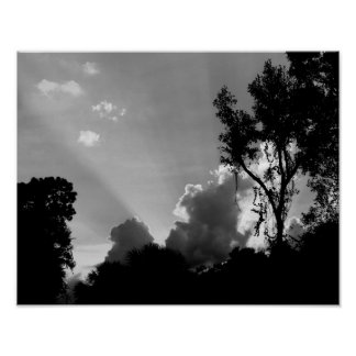 B&W Sun Rays at Sunset - Sky Photo Poster