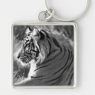 B&W Tiger Profile Photo Silver-Colored Square Key Ring