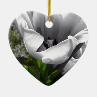 B&W Tulip Ceramic Heart Decoration
