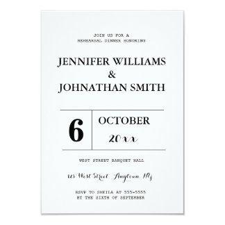 B&W typography rehearsal dinner invitations