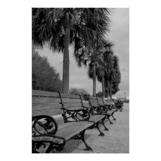 B/W Waterfront Benches Poster