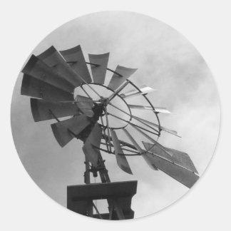 B&W Windmill Classic Round Sticker