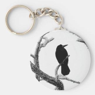 B&W Winter Raven Edgar Allan Poe Basic Round Button Key Ring
