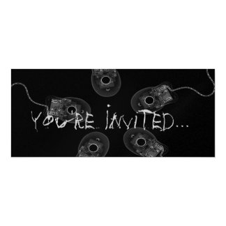 "B&W X-Ray Computer Mice Invites 4"" X 9.25"" Invitation Card"