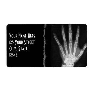 B&W X-ray Skeleton Hand Return Address Labels