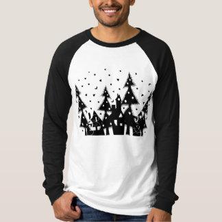 b&w Xmas town_black Tshirt