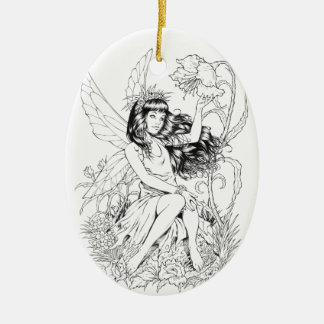 B&W Young Fairy with Flowers by Al Rio Christmas Ornament