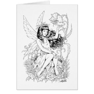 B&W Young Fairy with Flowers by Al Rio Greeting Card
