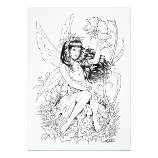 """B&W Young Fairy with Flowers by Al Rio 5"""" X 7"""" Invitation Card"""