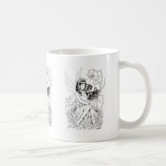 B&W Young Fairy with Flowers by Al Rio Coffee Mugs