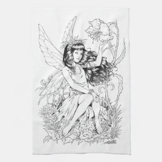 B&W Young Fairy with Flowers by Al Rio Towel