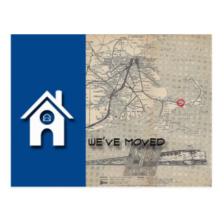 B We've moved House Map Replace with your own Map Postcard
