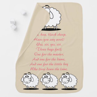 Baa Baa Black Sheep Nursery Rhyme Baby Blanket