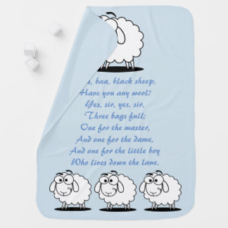 Baa Baa Black Sheep nursery rhyme baby blue Baby Blanket