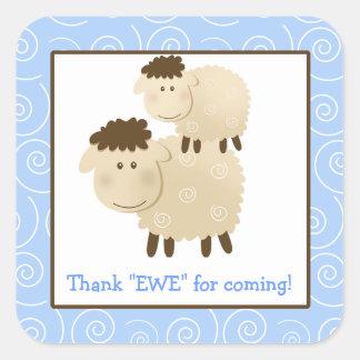 Baa Baa Sheep Blue Lamb Square Envelope Seals 20 Square Sticker