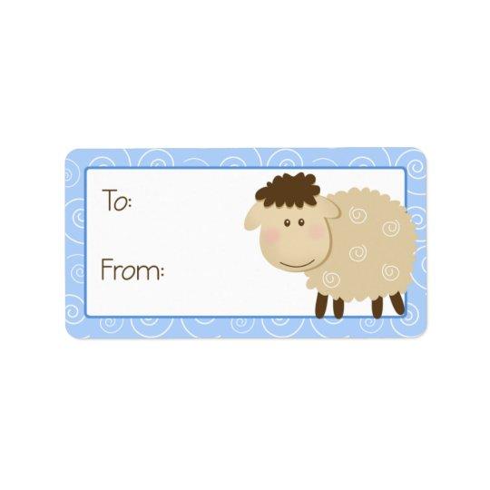 Baa Baa Sheep Blue Swirl Gift Tag Label Address Label