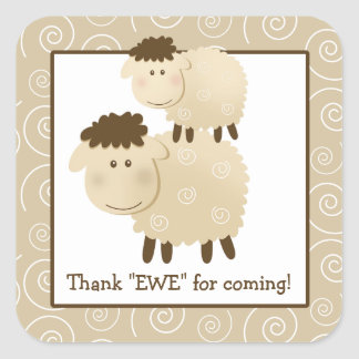 Baa Baa Sheep Lamb Square Envelope Seals 20 Square Sticker